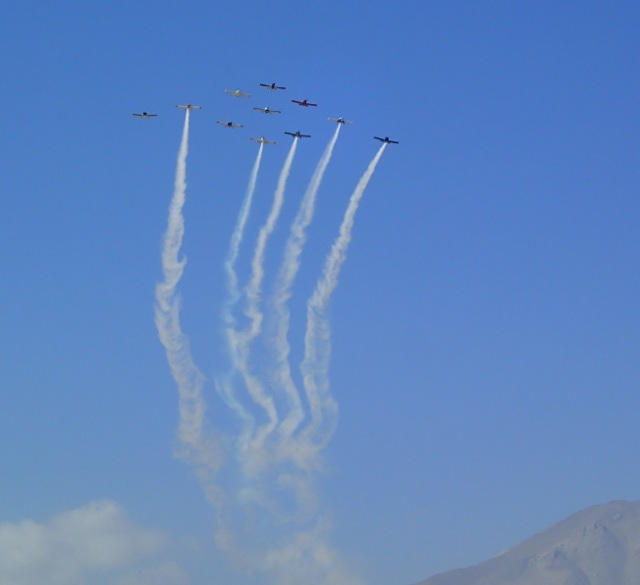 The Ravens on their first formation fly-by.