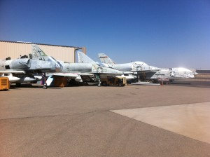 Jet Warbirds at KAVQ.  A-4 Skyhawks and a F-8 Crusader.
