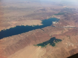 Lake Havasu and another reservoir.  It amazes me to see water like this after flying over so much desert.